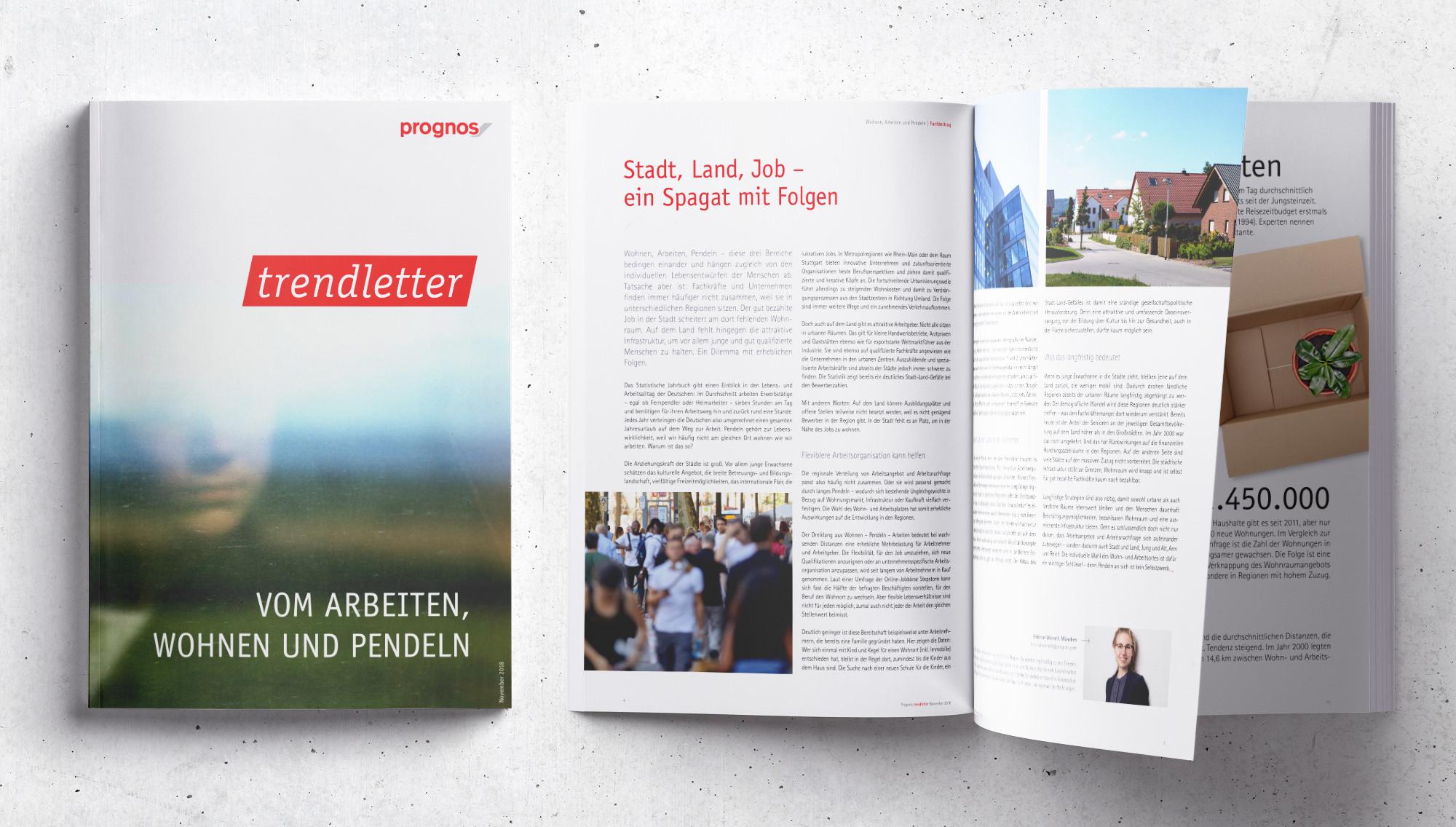 Trendletter – Titel und Innenseiten (Prognos, Editorial Design)