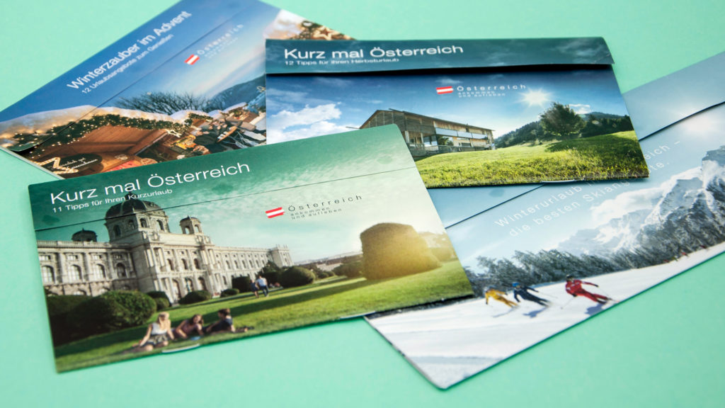 Kurzreisenmailings (Österreich Werbung, Grafikdesign)