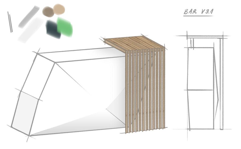 Visualisierung Barelement (Quentic, Messestand)
