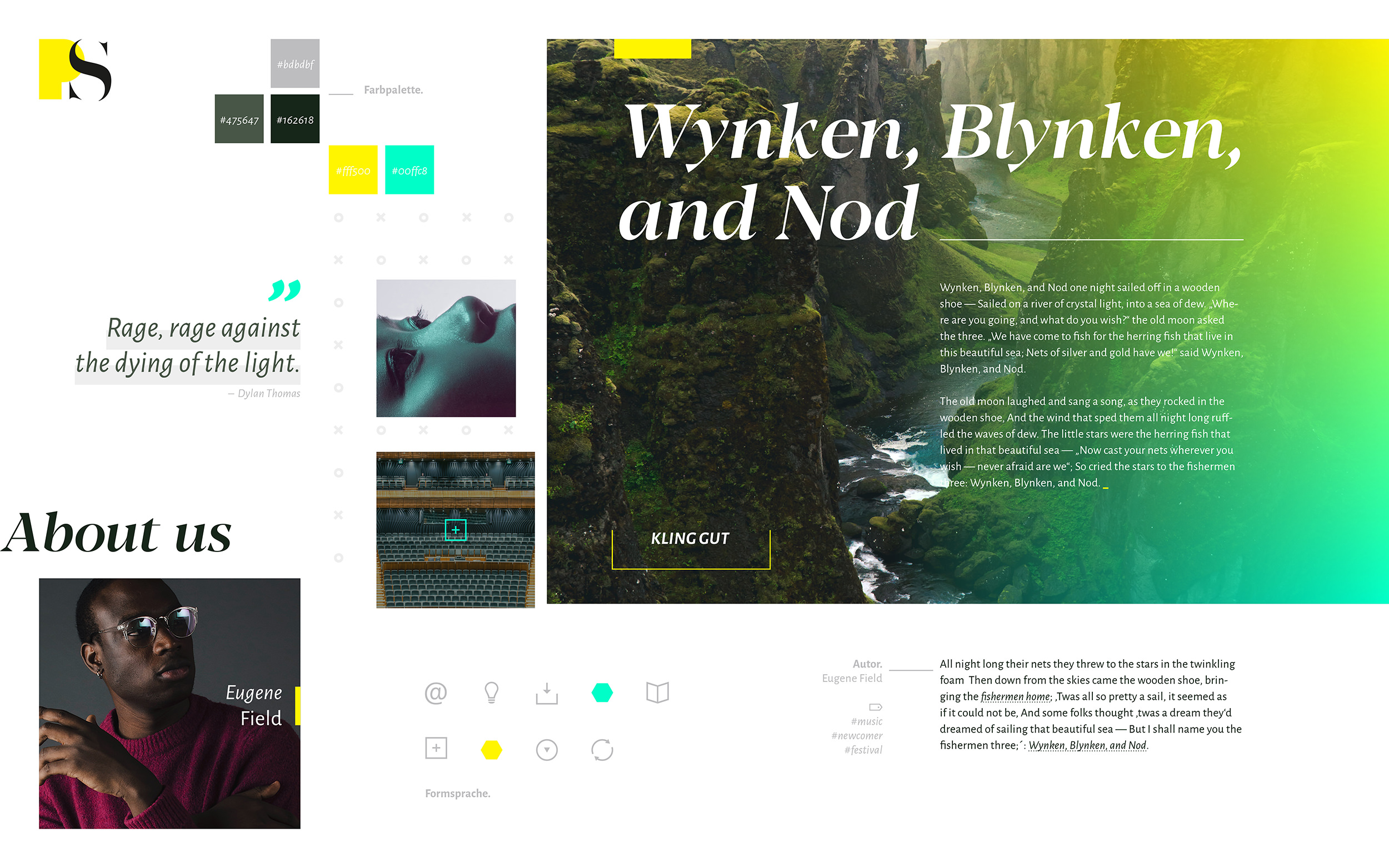 Moodboard, Exploration (PS Music, Webdesign)