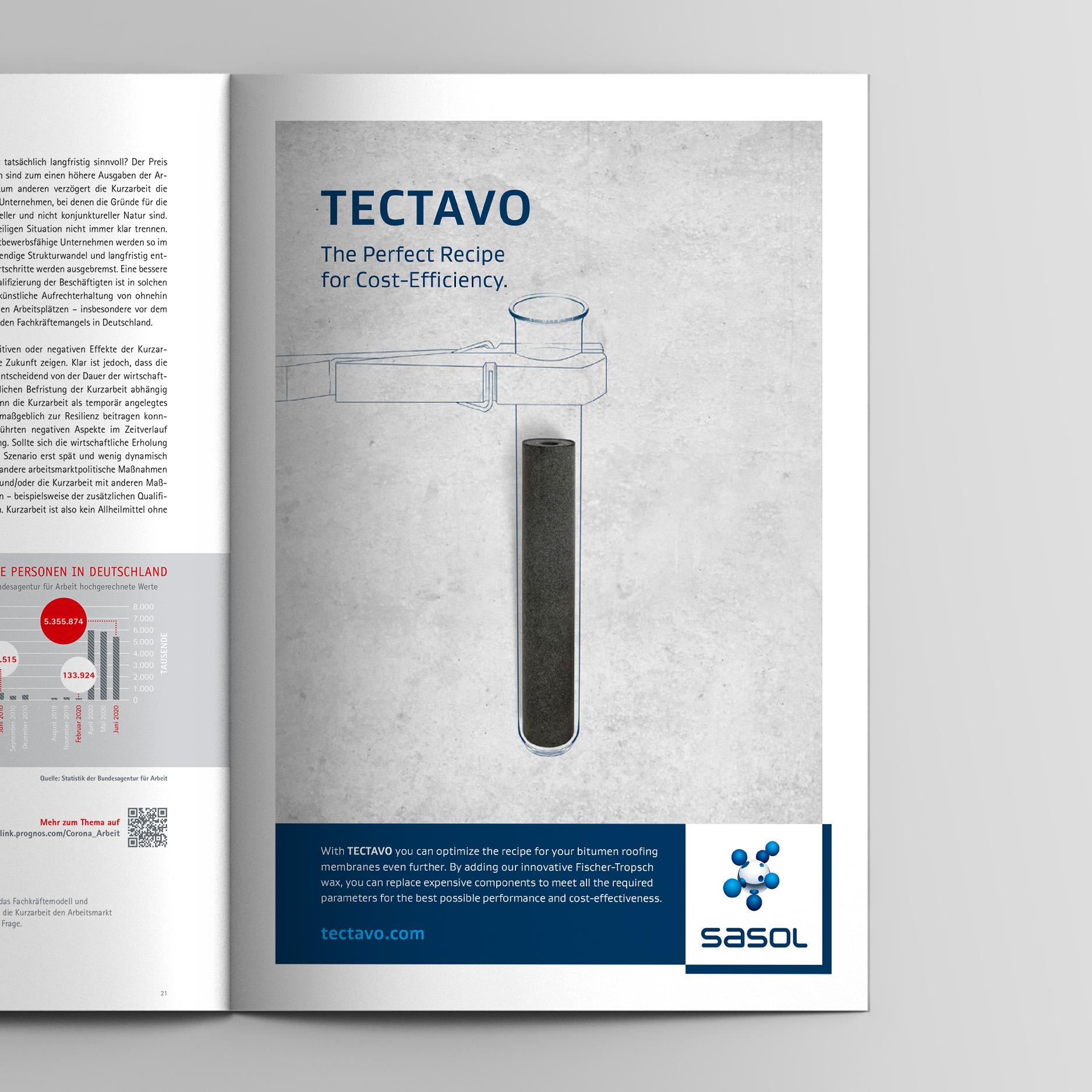 Keyvisual – Anzeige Zusammensetzung (Sasol, Tectavo Productlaunch)
