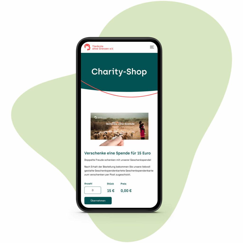 Screen: Mobile Ansicht – Charity-Shop (Tierärzte ohne Grenze, Webseite)