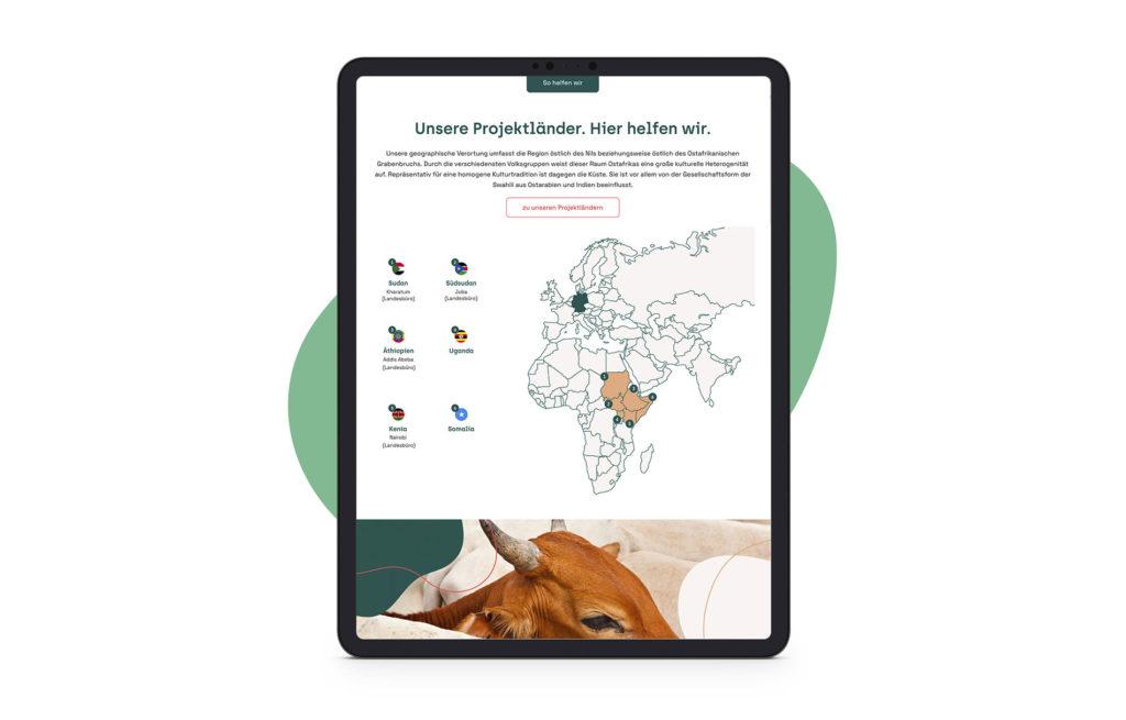 Screen: Tablett – Projekte (Tierärzte ohne Grenze, Webseite)