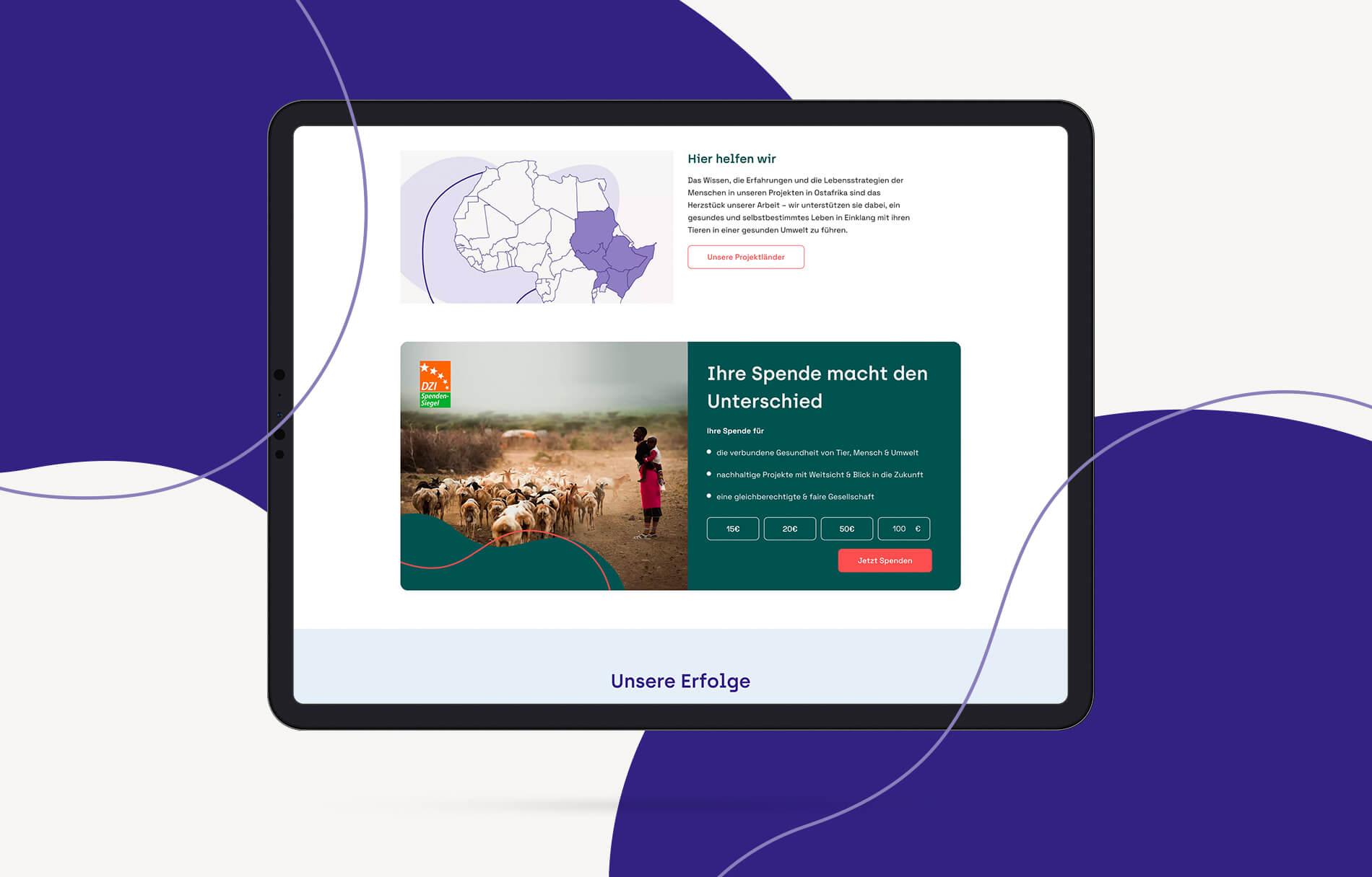 Screen: Spendenbox (Tierärzte ohne Grenze, Webseite)