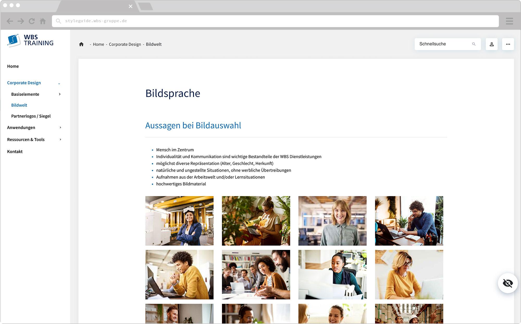 WBS Update 2021 / Slider, Screen wirHub Brand Manangement – Bildsprache