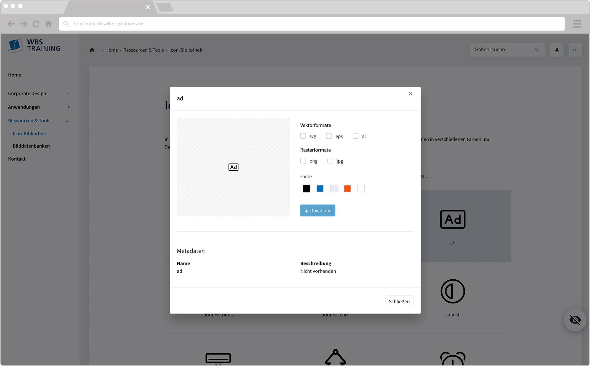 WBS Update 2021 / Slider, Screen wirHub Brand Manangement – Icon Bibliothek Export